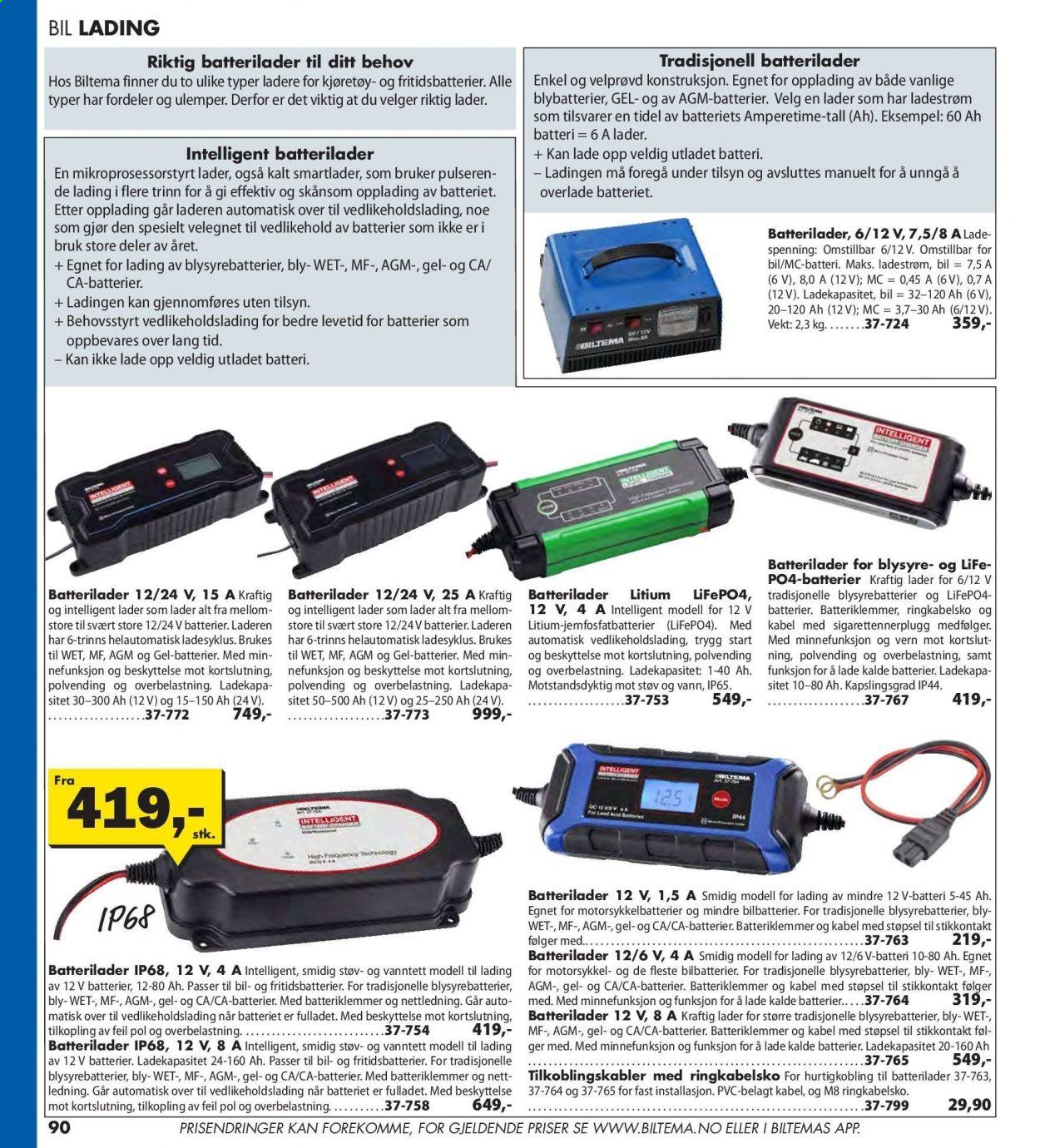 Batterilader Litium LiFePO4, 12 V, 4 A Biltema.no